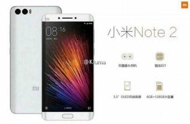 Xiaomi Mi Note 2: conferme sulle specifiche tecniche