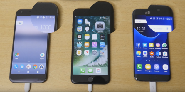 Google Pixel XL Vs iPhone 7 Plus Vs Galaxy S7 Edge: chi ricarica prima la batteria?