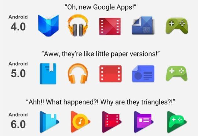 """Quando """"nuovo"""" non vuol dire """"migliore"""": l'evoluzione delle icone nelle app Google Play"""