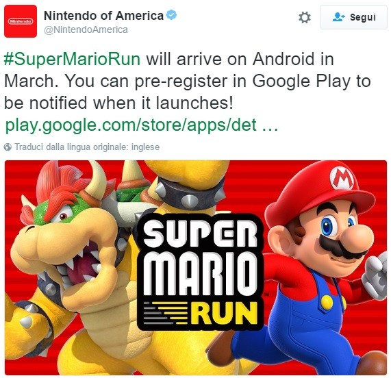 Super Mario Run: ecco quando sarà disponibile su Android