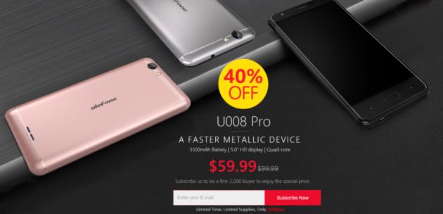 Ulefone U008 Pro in promozione a $59.99 su Aliexpress
