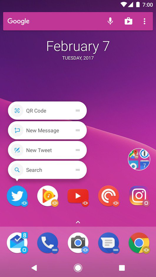 Action Launcher 3 beta introduce le shortcuts (2)