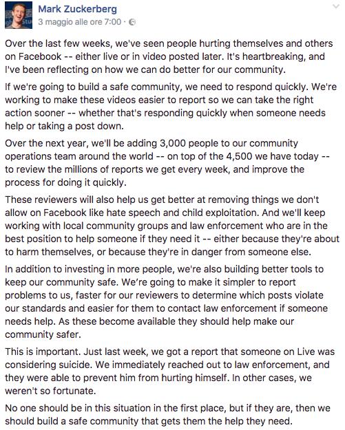 Facebook insiste sulla censura dei contenuti virali inappropriati (2)