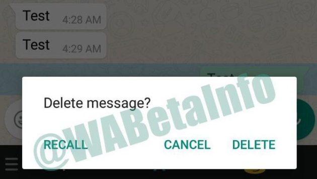WhatsApp Beta mostra l'opzione per revocare i messaggi, ma...