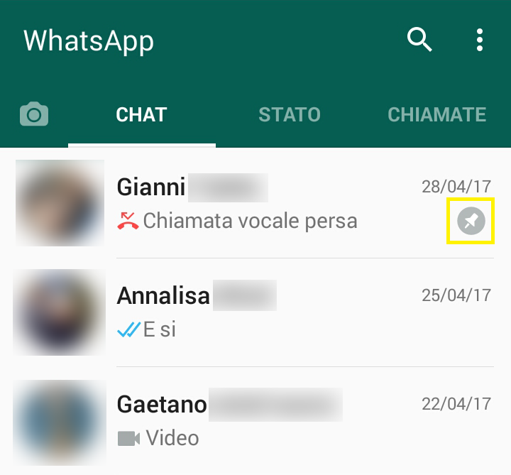 WhatsApp consente di mettere in evidenza determinate chat (2)