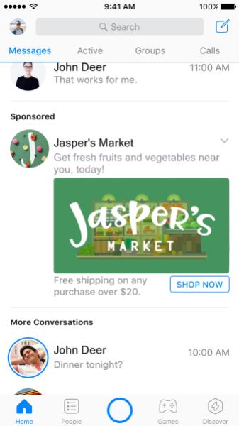 Facebook Messenger ospiterà annunci pubblicitari in home page (2)
