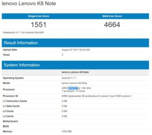 Lenovo K8 Note e K8 Plus Geekbench