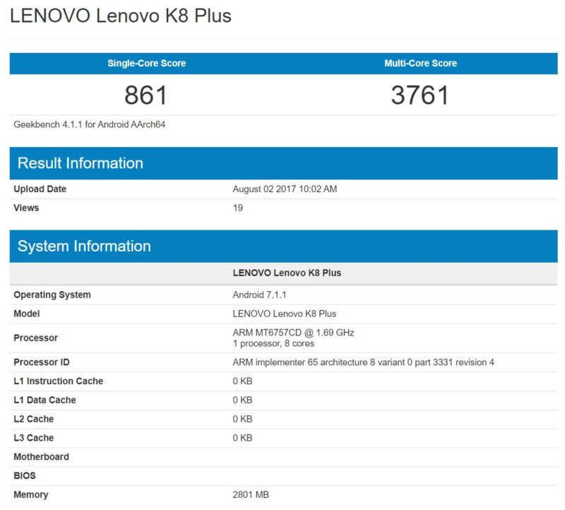 Lenovo K8 Plus, prime specifiche da benchmark