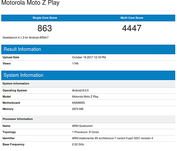 Moto Z Play GeekBench