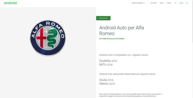 Android Auto: disponibile su alcuni modelli di Alfa Romeo e Fiat