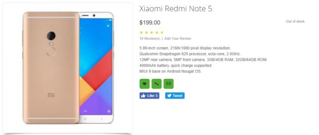 RedMi Note 5 fa la sua prima apparizione su OppoMart a soli 199$