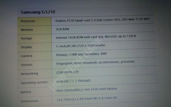 Galaxy J5 Prime specs