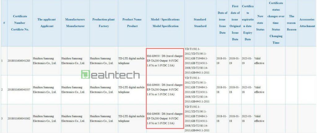 Samsung Galaxy S9 ed S9 Plus, ricarica rapida come su Samsung Galaxy S8