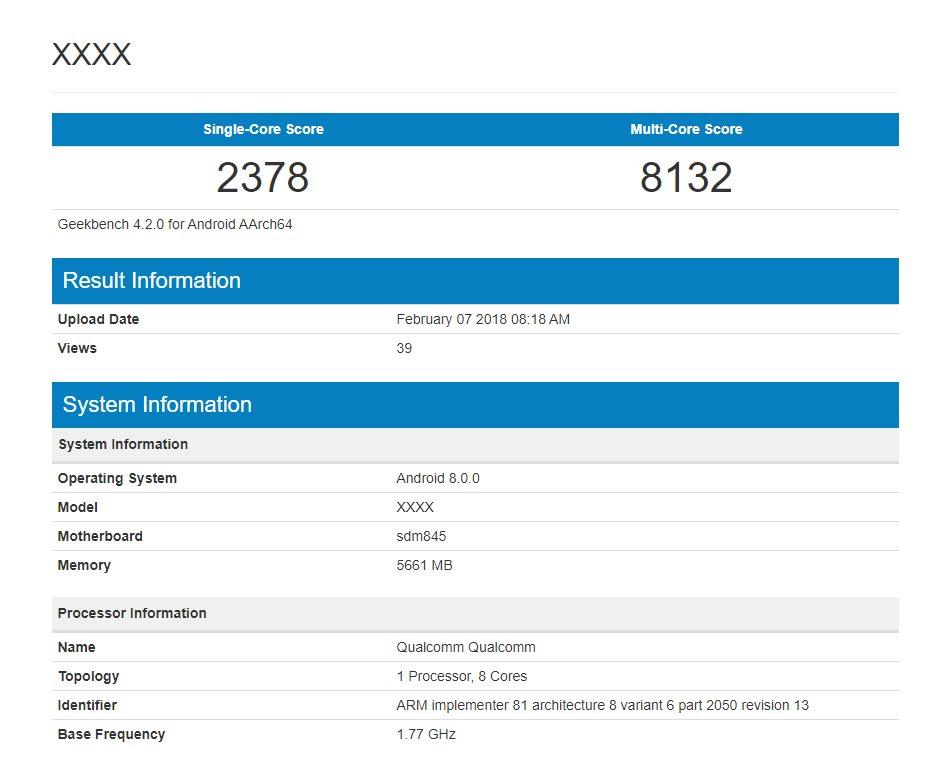 Snapdragon 845 GeekBench