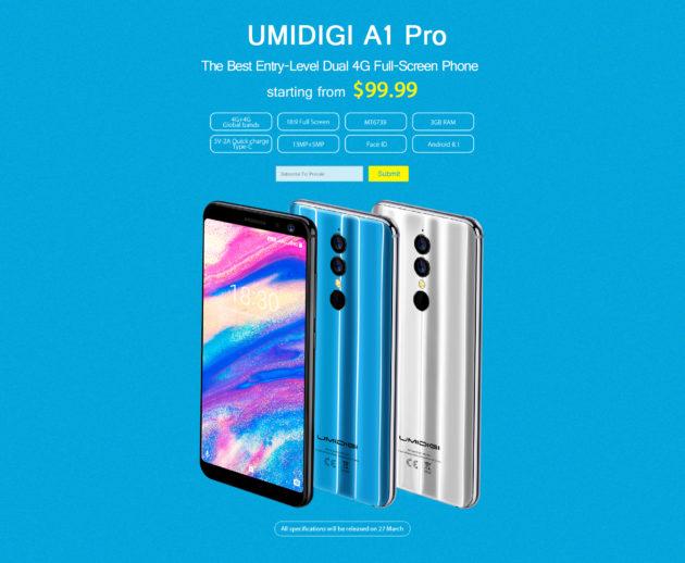 UMIDIGI A1 Pro: rilasciate le specifiche ufficiali