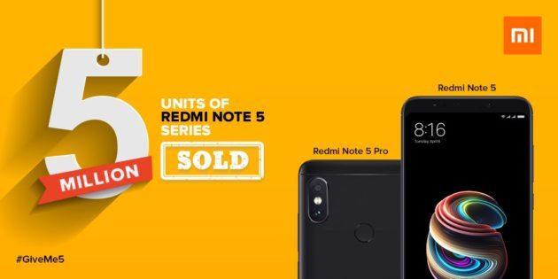 Xiaomi RedMi Note 5 e RedMi Note 5 Pro raggiungono 5 milioni di unità vendute