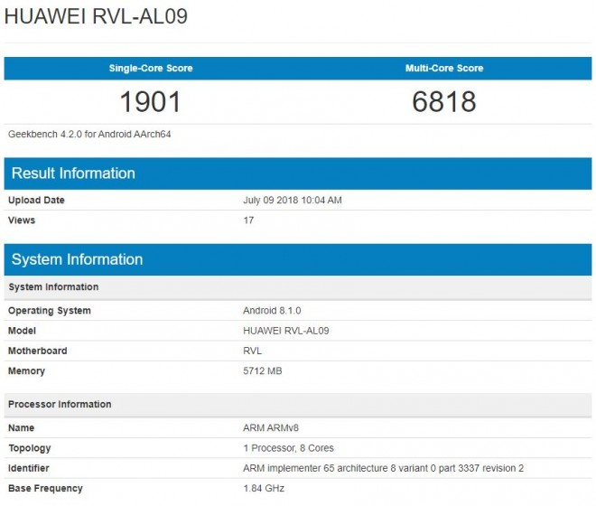 Honor Note 10 GeekBench