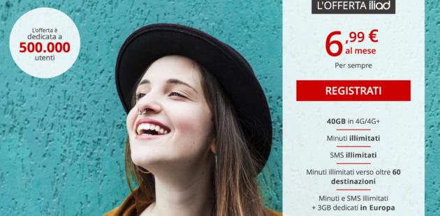 Nuova offerta Iliad: 40 GB e tutto illimitato a 6,99 €