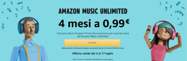 Offerta Amazon Music Unlimited oltre il 90% di sconto per 4 mesi