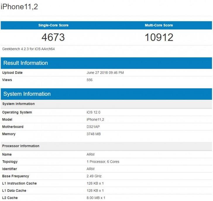 iPhone 11,2 GeekBench