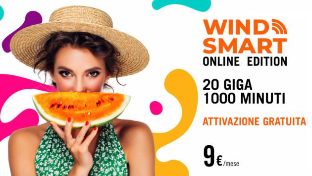 Wind Smart Online Edition, con 1000 minuti e 20GB, a 9€ per i nuovi clienti