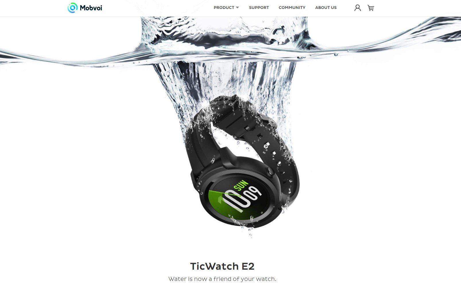 Un misterioso Ticwatch E2 appare sul sito di Mobvoi ...