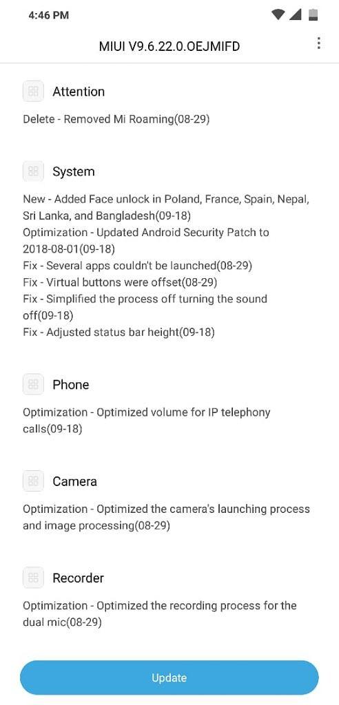 pocophone f1 face unlock update