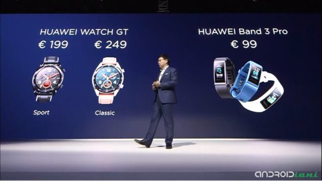 Huawei presenta Watch GT e Band 3 Pro