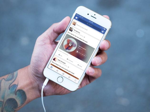 Facebook: clip musicali nelle storie e sul profilo