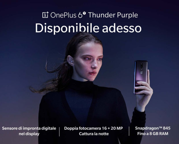 OnePlus 6T Thunder Purple disponibile in Italia
