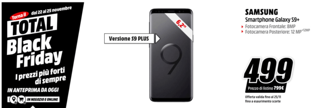 Black Friday: mediaworld sconta il Samsung Galaxy S9 Plus a 499 euro