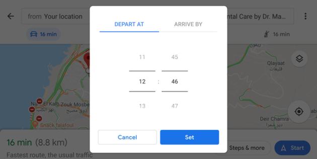 Google Maps: possibilità di impostare l'orario di arrivo e partenza in auto