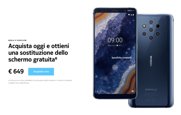Nokia 9 PureView è disponibile in Italia a 649€ con...due display!
