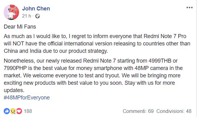 Redmi Note 7 Pro no global
