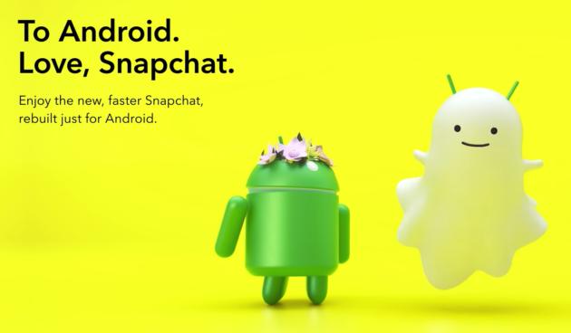 Snapchat lancia l'app per Android completamente ricostruita
