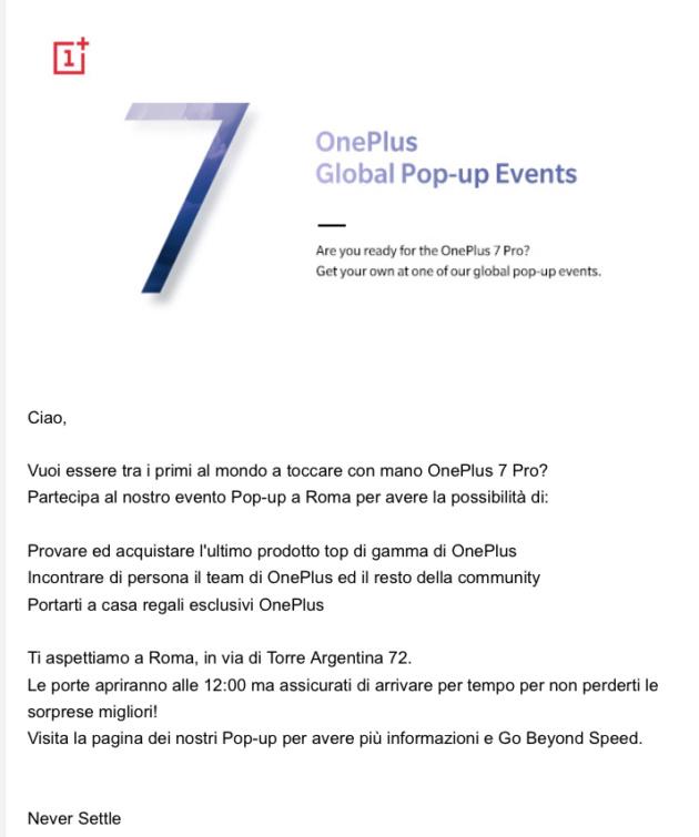 Vuoi OnePlus 7 prima di tutti? L'evento è fissato a Roma il 18 maggio