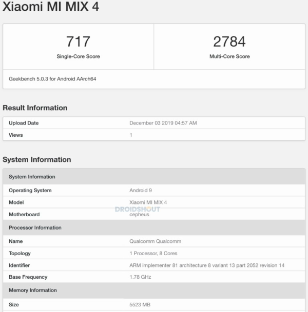 xiaomi mi mix 4 geekbench