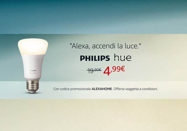 Philips Hue compatibile con Alexa a soli 4.99 euro su Amazon