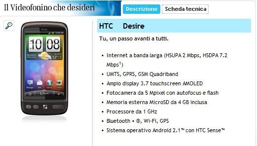 HTC Desire, ecco le offerte di Tre Italia