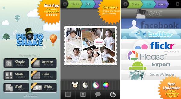 PhotoShake! Scuoti il tuo Android per creare collage fotografici