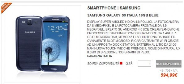 Galaxy S III a 595€ con garanzia Italia