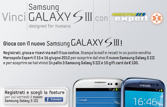 Vinci tre Samsung Galaxy S III con Marcopolo Expert