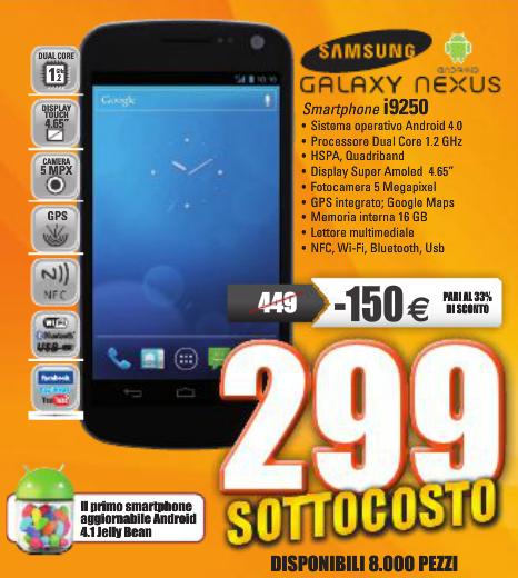 Galaxy Nexus: in offerta limitata da Marcopolo a 299€ [8000 pezzi disponibili]