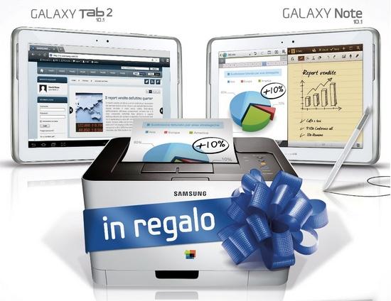 Samsung regala una stampante a chi acquista un Galaxy Note 10.1 e Galaxy Tab 2 10.1