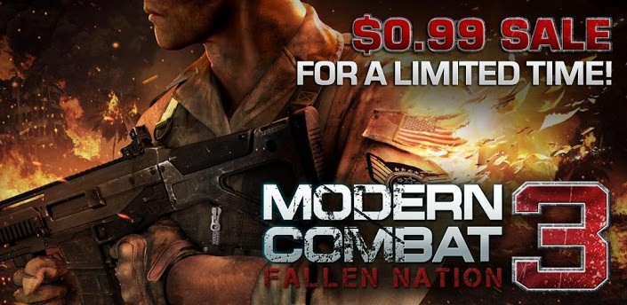 Modern Combat 3: Fallen Nation disponibile nel Play Store a 0,79 €
