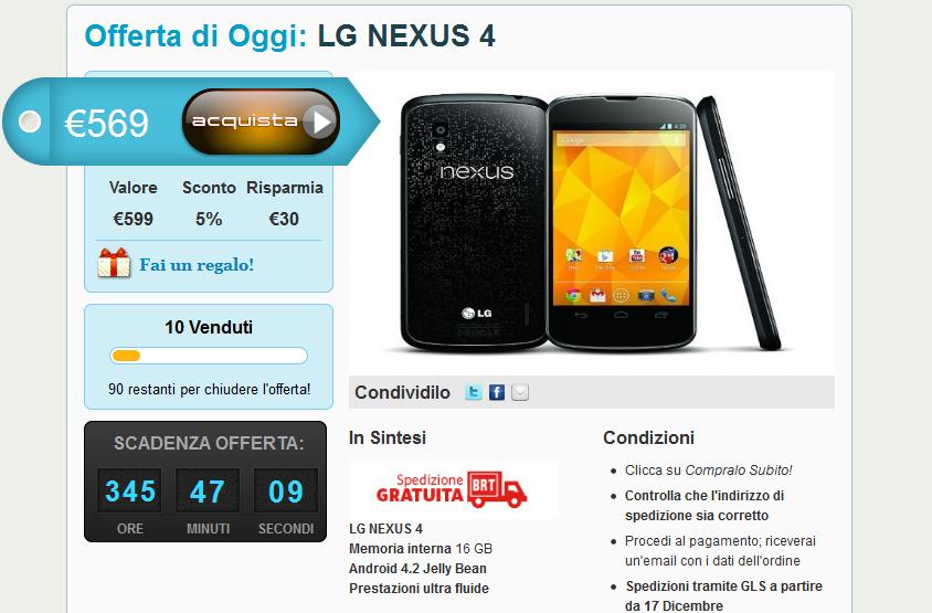 LG Nexus 4 a 569 € spedizione inclusa su Grouphone.it