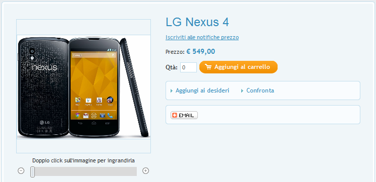 LG Nexus 4 disponibile in Italia a 549 € su GlobalWorkMobile.com