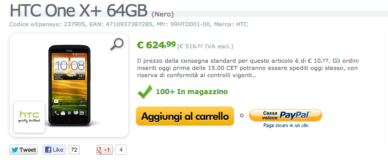 HTC One X+ disponibile su Expansys a 624,99€