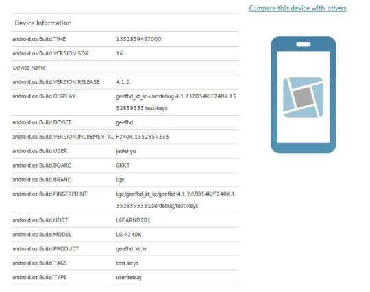 LG F240K appare su GLBenchmark: display full HD e CPU quad-core