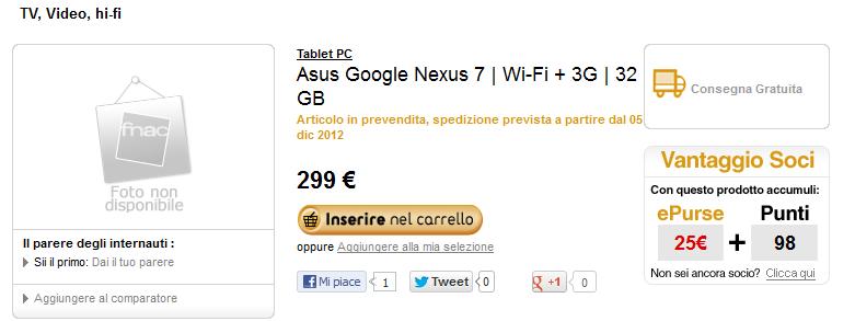 Nexus 7 32 GB 3G disponibile in pre-vendita sul sito di Fnac a 299€